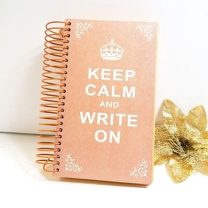 New, Shimmer Pink Keep Calm and Write On Notebook